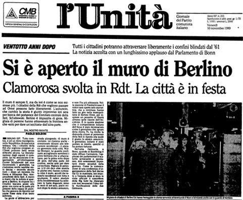 titolo de l'unità, 9 novembre 1989